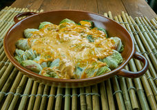 Indian stuffed  curry cabbage. With brown rice and vegetables - Bandh gobi ki rolls Royalty Free Stock Photography