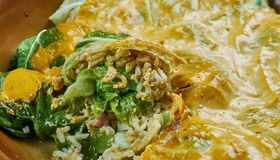 Indian stuffed  curry cabbage. With brown rice and vegetables - Bandh gobi ki rolls Stock Image