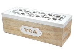 Carved wooden box for tea stock image
