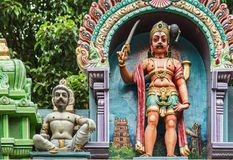 Indian style colorful sculpture detail view in old temple royalty free stock photography