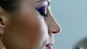 Indian style make up process stock footage