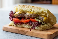 Indian Style Meatballs Sandwich with Bazlama Bread. stock photo