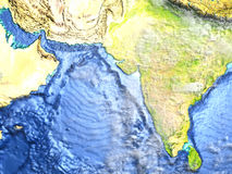 Indian subcontinent on Earth - visible ocean floor Stock Image