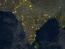 Indian subcontinent at night on planet Earth Stock Photos