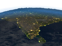 Indian subcontinent at night on planet Earth Stock Photography
