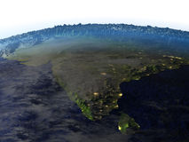 Indian subcontinent on realistic model of Earth Royalty Free Stock Photo