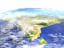 Indian subcontinent on realistic model of Earth Royalty Free Stock Photos