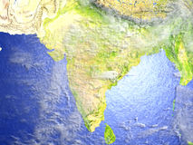 Indian subcontinent on realistic model of Earth Royalty Free Stock Images