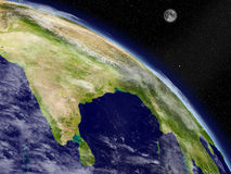 Indian subcontinent from space Royalty Free Stock Image