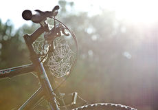 Indian Summer cobweb on the bike Stock Image