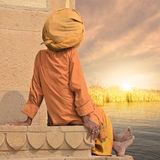 Indian summer. Holy man near Ganges during the indian summer Royalty Free Stock Photos