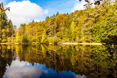 Indian Summer Lake. Indian Summer at the Pfalz stock photos