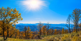 Indian summer. Mountains of Krasnodar Krai. It is yellow a blue. Landscape of fall, wonderful time of the nature all in gold Royalty Free Stock Photography