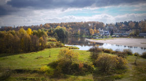 Indian summer. River Berezina. City of Borisov. Belarus. Royalty Free Stock Photography