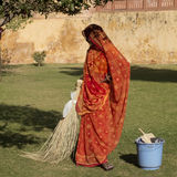 Indian sweeper. Royalty Free Stock Photos