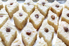 Indian sweet Bengali steamed bhapa sandesh. Indian sweet. Bengali steamed Bhapa sandesh. Raisin has been used for garnishing Stock Images