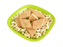 Indian Sweet Dish. Sweet dish made from cashew nuts Royalty Free Stock Image