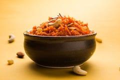 Gajar Halwa or Carrot Halwa. Indian sweet dish called Gajar Ka Halwa or Carrot halwa, famous food for diwali or wedding royalty free stock photography
