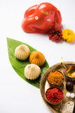 Indian sweet food called modak prepared specifically in ganesh festival or ganesh chaturthi Stock Photo