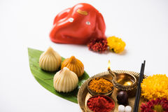 Indian sweet food called modak prepared specifically in ganesh festival or ganesh chaturthi Royalty Free Stock Image