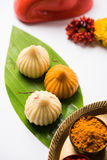 Indian sweet food called modak prepared specifically in ganesh festival or ganesh chaturthi Stock Photography