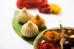Indian sweet food called modak prepared specifically in ganesh festival or ganesh chaturthi royalty free stock photo