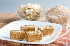 Indian Sweet Gazak or Gajak. Indian Sweet made up of Sesame (til) seeds and jaggaery (gud Royalty Free Stock Images