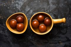 Indian sweet Gulab Jamun served in a ceramic bowl, selective focus Stock Photography