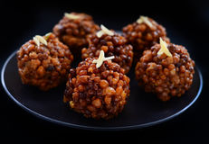 Indian sweet-Kale boondi ke laddoo royalty free stock photos