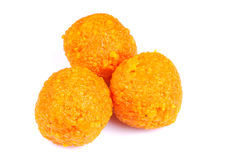 Indian sweet laddoo. Isolated on white background royalty free stock photos