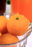 Indian sweet laddoo. In glass bowl royalty free stock photos