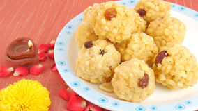 Indian Sweet Laddu. Sweet dish of India, made from deep frying portions of a lentil flour batter Stock Photos