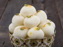 Indian Sweet Rasgulla Famous Bengali Over White Background Stock Images