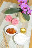 Indian sweet sour chicken with rice Royalty Free Stock Image