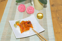 Indian sweet sour chicken with rice Royalty Free Stock Photography