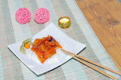 Indian sweet sour chicken with rice Royalty Free Stock Images