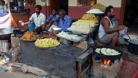 Indian sweet stall. Preparation and selling traditional Indian sweets. Picture was taken in Jaipur Stock Image