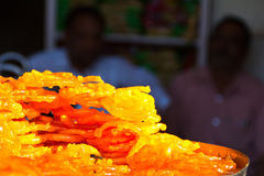 Indian sweet treat Jalebi. On a city market on a sunny day. Mysore. India Royalty Free Stock Images