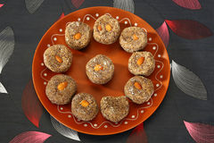 Indian Sweets. With almond in plate royalty free stock images