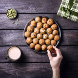 Indian sweets Besan Ladoo Stock Photos