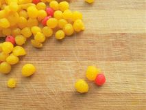 Indian Sweets - Boondi. Close up of boondi on wooden background stock photo