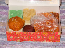 Indian Sweets. A box of traditional Indian sweets royalty free stock photography