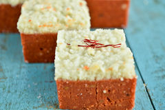 Indian Sweets - Coconut barfi Royalty Free Stock Photos