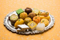 Indian sweets for diwali festival or wedding, selective focus Royalty Free Stock Photos