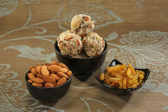 Indian sweets dryfruit and cocnut ladoo Stock Image