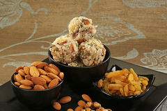 Indian sweets dryfruit and cocnut ladoo. Indian Dish Royalty Free Stock Photography