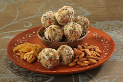 Indian sweets dryfruit and cocnut ladoo Stock Photos
