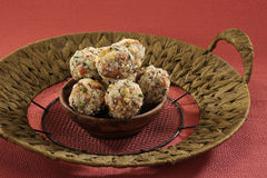 Indian sweets dryfruit and cocnut ladoo. Indian Dish Royalty Free Stock Photo