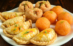 Indian Sweets - Mithai. These are sweets from India prepared out of Milk product, sugar and aromatic ingredients royalty free stock photos