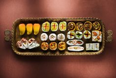 Indian sweets and Mithai in a tray for Diwali festiva. L, flat lay, top view stock images